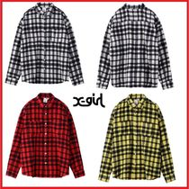 X-girl Other Check Patterns Wool Street Style Long Sleeves