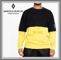 Marcelo Burlon Crew Neck Unisex Long Sleeves Cotton Sweatshirts