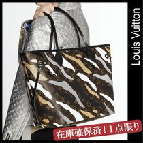 Louis Vuitton NEVERFULL Camouflage Unisex Leather Elegant Style Totes
