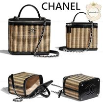 CHANEL Blended Fabrics Chain Leather Elegant Style Logo Bags