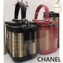 CHANEL Blended Fabrics Chain Leather Elegant Style Bags