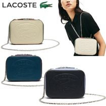 LACOSTE Casual Style Chain Leather Shoulder Bags