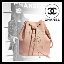 CHANEL ICON Calfskin Studded Chain Leather Purses Bucket Bags