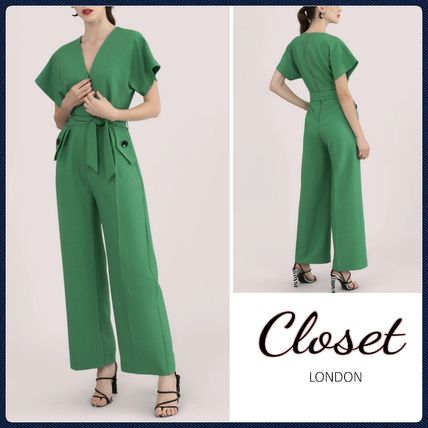 Dungarees Casual Style V-Neck Plain Long Short Sleeves