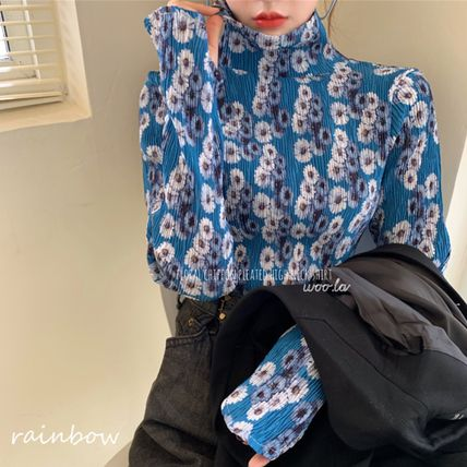 Shirts & Blouses Flower Patterns Casual Style Long Sleeves Medium