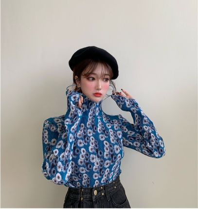 Shirts & Blouses Flower Patterns Casual Style Long Sleeves Medium 5