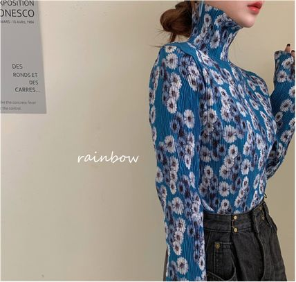 Shirts & Blouses Flower Patterns Casual Style Long Sleeves Medium 7