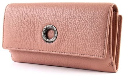 Calfskin Blended Fabrics Plain Leather Folding Wallet Logo