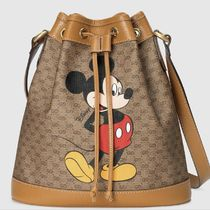 GUCCI GG Supreme Casual Style Blended Fabrics Collaboration Leather Purses