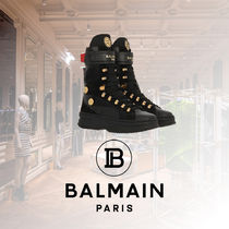 BALMAIN Casual Style Street Style Plain Leather Low-Top Sneakers