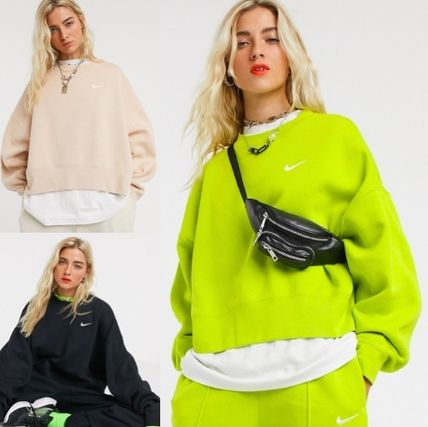 Crew Neck Blended Fabrics Street Style Long Sleeves Cotton