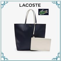 LACOSTE Casual Style Collaboration A4 2WAY Plain PVC Clothing Totes