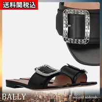 BALLY Open Toe Square Toe Rubber Sole With Jewels Sandals Sandal