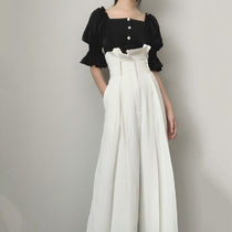 Flared Skirts Casual Style Maxi Plain Cotton Long