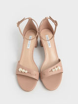 Charles&Keith Open Toe Casual Style Faux Fur Plain Block Heels