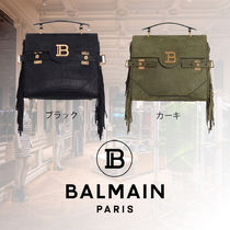 BALMAIN Casual Style Calfskin 2WAY Plain Fringes Handbags