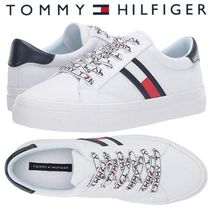 Tommy Hilfiger Stripes Round Toe Lace-up Casual Style Street Style Plain