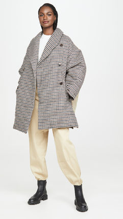 Other Plaid Patterns Casual Style Wool Medium Oversized