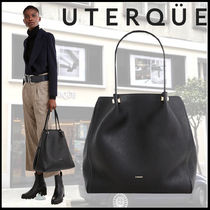 Uterque Casual Style A4 Plain Leather Office Style Elegant Style