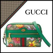 GUCCI Ophidia Flower Patterns Canvas Leather Elegant Style Shoulder Bags