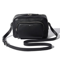 Agnes b Casual Style Plain Leather Crossbody Logo Camera Bag