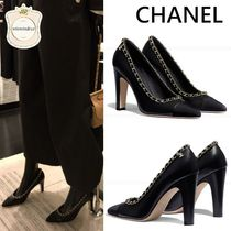 CHANEL Chain Elegant Style High Heel Pumps & Mules
