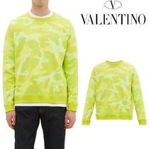 VALENTINO Street Style Long Sleeves Cotton Military Sweatshirts