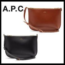 A.P.C. 2WAY Plain Leather Office Style Elegant Style Shoulder Bags