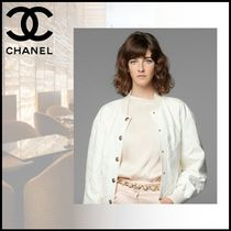 CHANEL Silk Plain Party Style Office Style Elegant Style