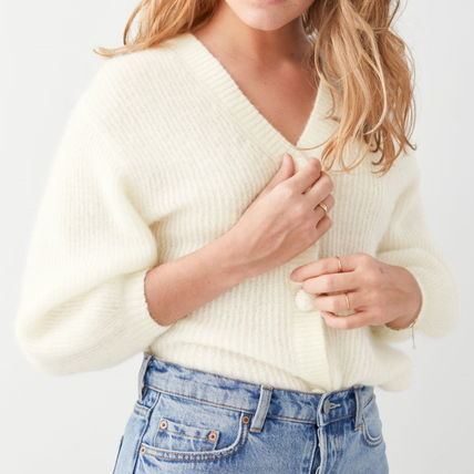 Short Casual Style Wool Rib Plain Short Sleeves Party Style