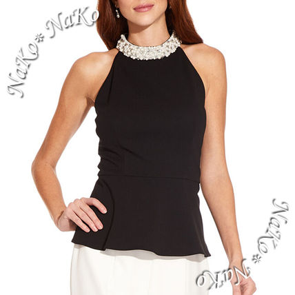 Peplum Blended Fabrics Sleeveless Plain Medium With Jewels