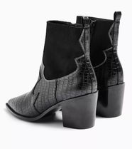 TOPSHOP Casual Style Faux Fur Block Heels Ankle & Booties Boots