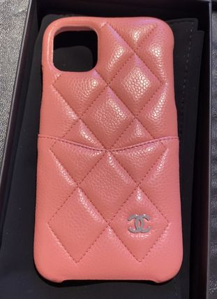 CHANEL MATELASSE Unisex Leather Logo iPhone 11 Pro iPhone 11 Pro Max