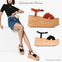 Gianvito Rossi Open Toe Platform Casual Style Suede Blended Fabrics