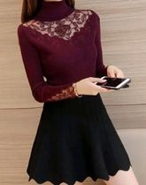 Flower Patterns Casual Style Wool Long Sleeves Plain Lace