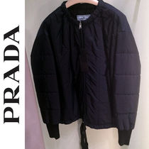 PRADA Short Blended Fabrics Plain Down Jackets