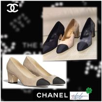 CHANEL Suede Plain Leather Elegant Style Chunky Heels