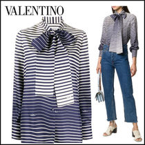 VALENTINO Stripes Casual Style Silk Long Sleeves Medium Party Style