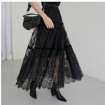 Flared Skirts Flower Patterns Casual Style Maxi Plain Long