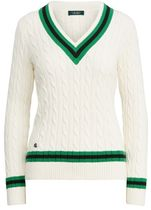 Ralph Lauren Cable Knit Stripes Casual Style V-Neck Bi-color Long Sleeves