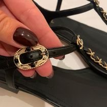 CHANEL Casual Style Chain Plain Leather Elegant Style Logo Sandals