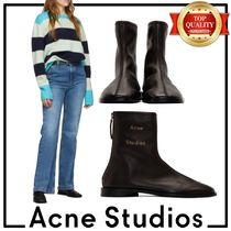 Acne Square Toe Plain Leather Ankle & Booties Boots