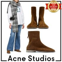 Acne Square Toe Casual Style Suede Plain Leather