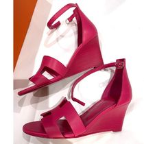 HERMES Open Toe Leather Heeled Sandals