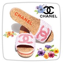 CHANEL ICON Casual Style Tweed Home Party Ideas Shower Shoes Flip Flops