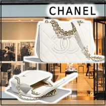 CHANEL 2020 SS FLAP BAG white shoulder bags