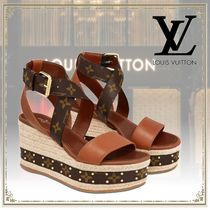 Louis Vuitton Monogram Leather Elegant Style Platform & Wedge Sandals