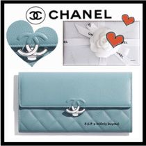 CHANEL MADEMOISELLE Unisex Calfskin Plain Long Wallets