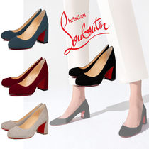 Christian Louboutin Plain Toe Casual Style Velvet Plain Block Heels Office Style
