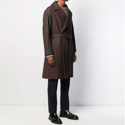 Other Plaid Patterns Wool Nylon Blended Fabrics Long Coats